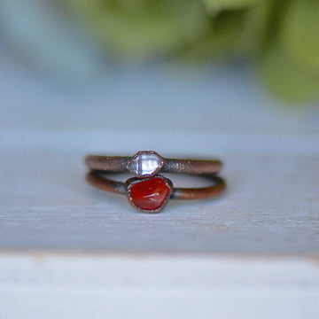 Carnelian Diamond Ring | Raw Stone Jewelry,Ringschock