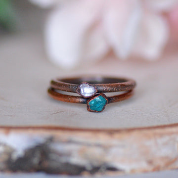 Apatite Herkimer Ring | Stacking Ring Set,Ringschock