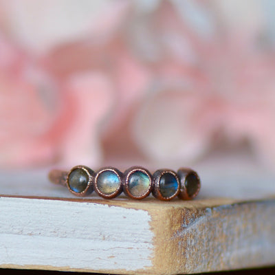 Labradorite Ring, March Birthstone Jewelry, Multi Stone Ring, Raw Stone Jewelry, Copper Gemstone Ring, Gift For Her, Stacking Ring,LUNAandLORES.