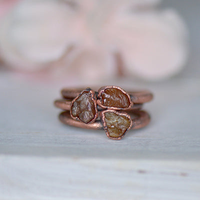 Yellow Sapphire Ring, Raw Gemstone Ring, Electroformed Ring, September Birthstone Jewelry, Copper Ring, Unique Gift for Her, Bohemian Ring