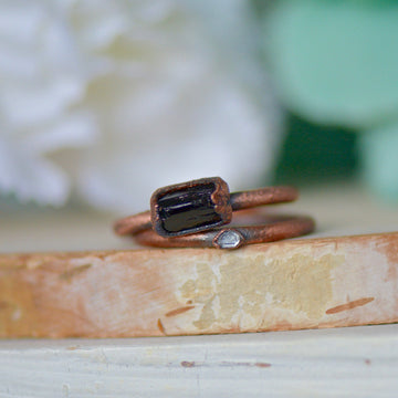 Herkimer Ring Set | Black Tourmaline Ring,Ringschock