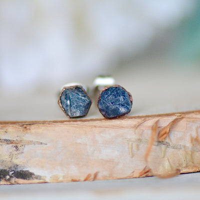 Raw Sapphire Earrings, Electroformed Studs, Gemstone Earrings, Blue Sapphire Studs, Gift For Her, Bohemian Earrings, Birthstone Earrings