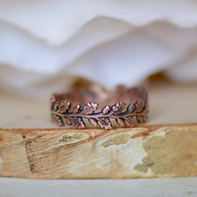 Copper Leaf Ring, Electroformed Jewelry, Stacking Ring for Her, Unique Gift for Women, Bohemian Jewelry, Raw Copper Ring, Layering Ring