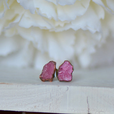 Tourmaline Earrings, Pink Tourmaline Studs, Birthstone Earrings, Electroformed Earrings, Gift For Her, Bridal Jewelry, Bridal Stud Earrings