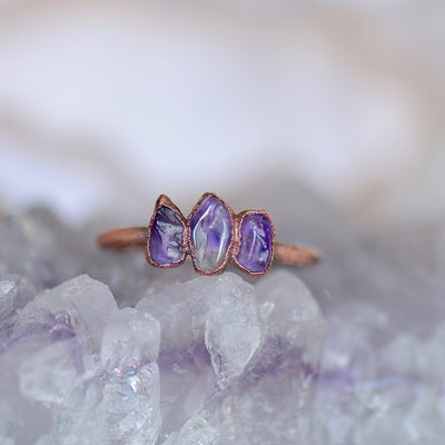 Raw Amethyst Ring, Electroformed Jewelry, Multi Stone Ring, Boho Stone Ring, Gift For Her, Birthstone Ring, Stacking Ring, Raw Stone Jewelry,LUNAandLORES.