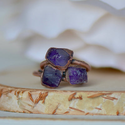 Amethyst Ring, Raw Stone Jewelry, February Birthstone Ring, Electroformed Ring, Boho Ring, Crystal Ring, Unique Gift for Her, Stacking Ring,LUNAandLORES.