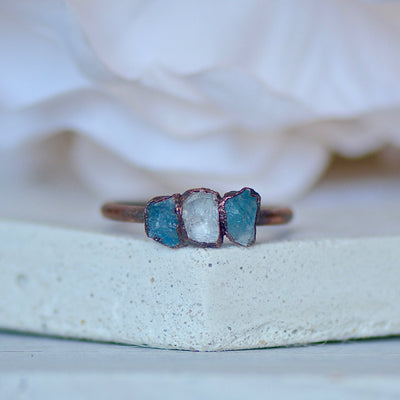 Triple Aquamarine Ring, Multi Stone Ring, Electroformed Jewelry, Boho Ring, March Birthstone Ring, Layering Ring, Unique Gift for Her
