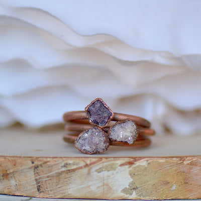 Raw Lepidolite Ring, Electroformed Jewelry, Copper Gemstone Ring, Raw Stone Ring, Unique Gift for Her, Bohemian Ring, Stone of Transition,LUNAandLORES.