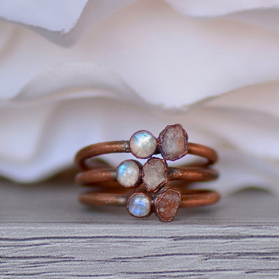 Moonstone Sunstone Ring,LUNAandLORES.