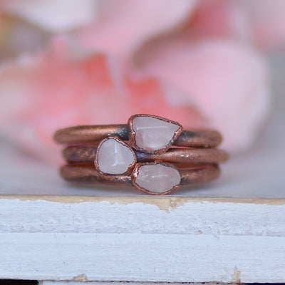 Rose Quartz Ring, Raw Stone Ring, Electroformed Jewelry, Stacking Ring, Gemstone Jewelry, Birthstone Ring, Unique Gift For Her, Boho Ring,LUNAandLORES.