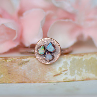 Raw Opal Ring, Cocktail Ring, Multi Stone Ring, Electroformed Jewelry, Birthstone Ring, Gift For Her, Boho Ring, Bridal Gift Idea, Stacking,LUNAandLORES.