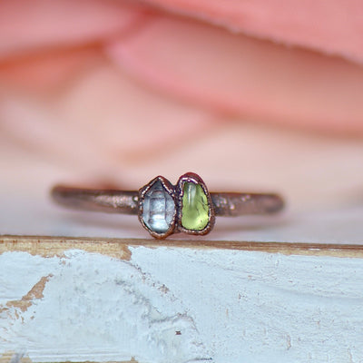 Peridot Herkimer Ring, Multi Stone Ring, Electroformed Jewelry, Unique Gift for Her, Boho Ring, Birthstone Jewelry, August Birthstone Ring