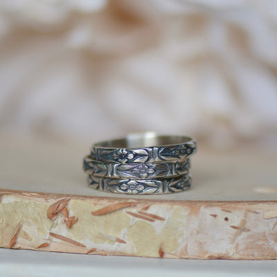 Sterling Silver Ring, Floral Silver Ring, Art Nouveaux Ring, Layering Ring, Wedding Band, Midi Ring, Knuckle Ring, Gift For Her, Boho Ring,LUNAandLORES.