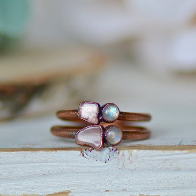 Moonstone Rose Quartz Ring,LUNAandLORES.