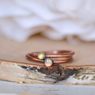 Opal Ring, Raw Stone Ring, Fire Opal Jewelry, Electroformed Ring, Gift for Her, Stacking Ring, Gemstone Ring, Bohemian Jewelry, Boho Bride,LUNAandLORES.