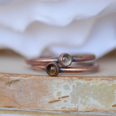 Smokey Quartz Ring, Birthstone Ring Raw Stone Ring, Electroformed Ring, Gift for Her, Stacking Ring, Gemstone Ring, Boho Jewelry, Boho Bride,LUNAandLORES.