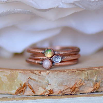Opal Ring Set, Raw Gemstone Rings, Stacking Rings, Electroformed Jewelry, Unique Gift for Her, Birthstone Rings, Fire Opal Rings, Midi Rings