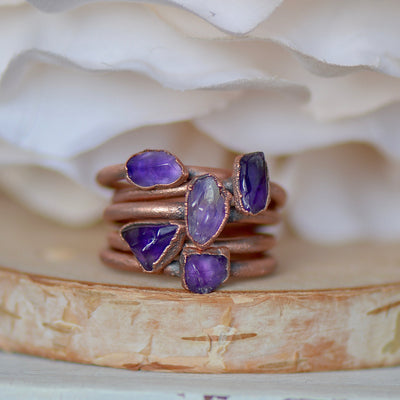 Raw Amethyst Ring, Electroformed Jewelry, Boho Ring, Unique Gift for Her, Birthstone Ring, Stacking Ring, Raw Stone Jewelry, Thumb Ring,LUNAandLORES.
