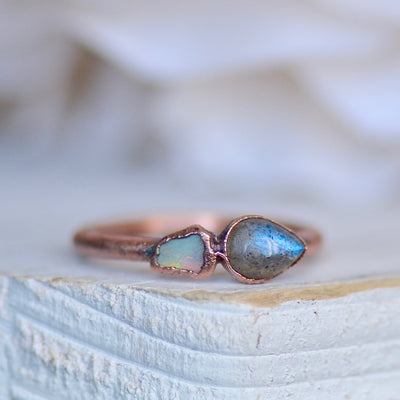 Labradorite Ring, Multi Stone Ring, Raw Opal Ring, Stacking Ring, Birthstone Jewelry, Electroformed Ring, Unique Gift for Her, Crystal Ring