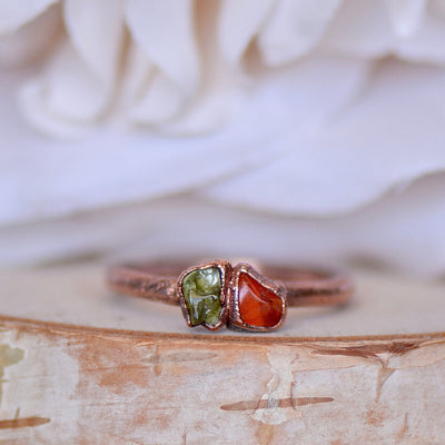 Raw Stone Ring, Peridot Ring, Carnelian Ring, Electroformed Jewelry, Bohemian Ring, Unique Gift for Her, August Birthstone Ring, Multi Stone