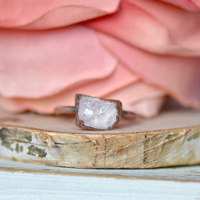 Raw Rose Quartz Ring, Electroformed Jewelry, Raw Crystal Ring, Unique Gift for Her, Bohemian Ring, Layering Ring, October Birthstone Jewelry