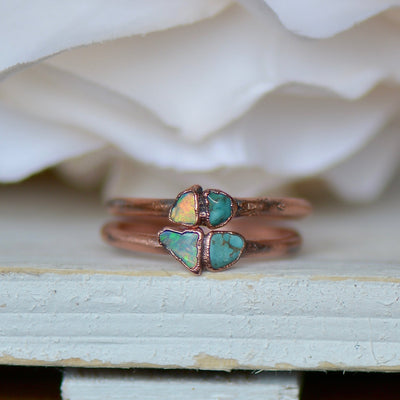 Opal Turquoise Ring, Raw Gemstone Ring, Electroformed Ring, Unique Gift for Her, Boho Bride, Stacking Ring for Her, Boho Jewelry, Opal Ring,LUNAandLORES.