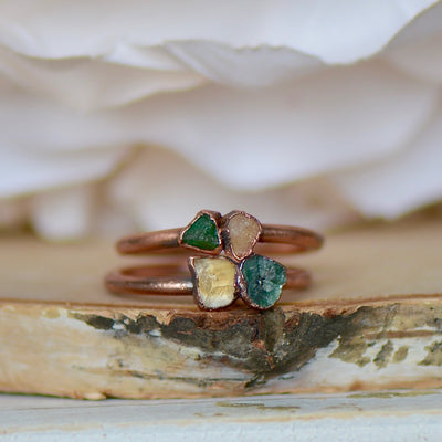 Emerald Citrine Ring, Multi Stone Ring, Raw Gemstone Ring, Stackable Jewelry, Electroformed Ring, Unique Gift For Her, Boho Ring, Pinky Ring