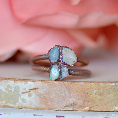 Opal Aquamarine Ring, Multi Stone Ring, Electroformed Jewelry, Promise Ring, Unique Gift for Women, Boho Ring, Copper Stone Jewelry,LUNAandLORES.
