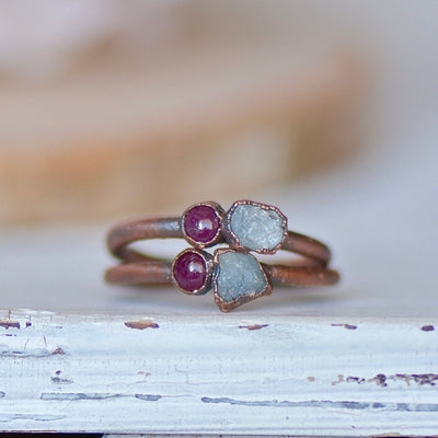 Aquamarine Ruby Ring,LUNAandLORES.