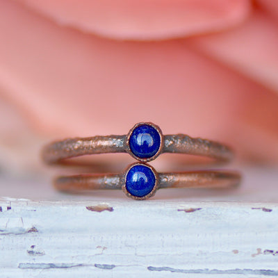 Lapis Lazuli Ring, Bohemian Jewelry for Her, Electroformed Ring, Stacking Ring, Unique Gift for Her, Raw Crystal Ring, Layering Ring,LUNAandLORES.