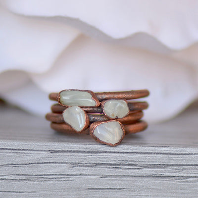 Prehnite Ring, Electroformed Jewelry, Layering Ring, Copper Gemstone Ring, Raw Stone Ring, Gift for Her, Bohemian Ring, Prehnite Jewelry