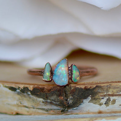 Raw Opal Ring, Multi Stone Ring, Electroformed Jewelry, Raw Gemstone Ring, Boho Style Jewelry, Copper Ring, Unique Opal Ring, Gift for Her