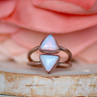 Triangle Opalite Ring, Opalite Jewelry, Electroformed Ring, Boho Jewelry, Unique Gift for Her, Stacking Ring, Raw Gemstone Ring, Hippie Ring