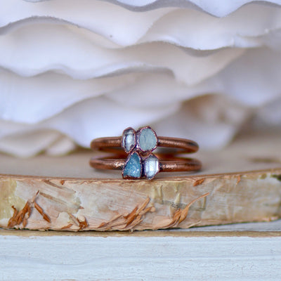 Aquamarine Herkimer Ring, Multi Stone Ring, Raw Stone Ring, Electroformed Ring, Gift for Her, Boho Ring, Stacking Ring, Birthstone Ring