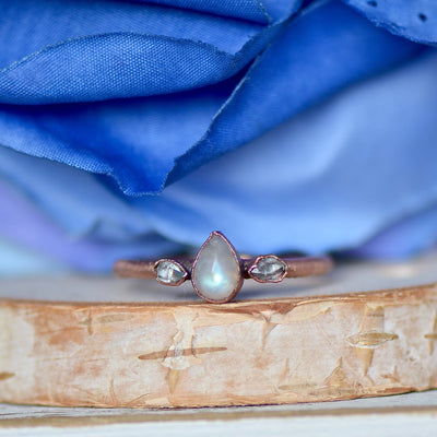Moonstone Herkimer Ring, Multi Stone Ring, Electroformed Ring, Unique Gift for Her, Bohemian Jewelry, Stacking Ring, Moonstone Ring, Hippie,LUNAandLORES.
