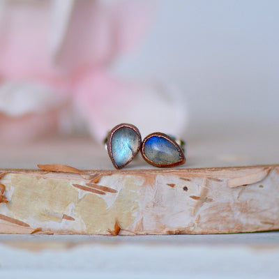 Labradorite Earrings, Birthstone Earrings, Electroformed Studs, Gift For Her, Labradorite Jewelry, Bridal Gift Idea, Copper Earrings