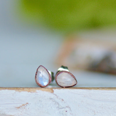 Moonstone Earrings, Rainbow Moonstone Studs, Birthstone Earrings, Electroformed Earrings, Gift For Her, Moonstone Jewelry, Bridal Earrings