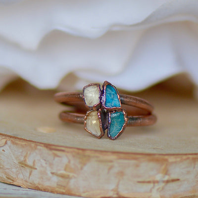 Apatite Citrine Ring, Birthstone Ring, Electroformed Ring, Raw Gemstone Jewelry, Unique Gift for Her, Stacking Ring, Bohemian Jewelry,LUNAandLORES.