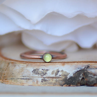 Peridot Ring, Birthstone Ring, Raw Stone Ring, Electroformed Ring, Unique Gift for Her, Thumb Ring, Boho Ring, Stacking Ring, Layering Ring,LUNAandLORES.