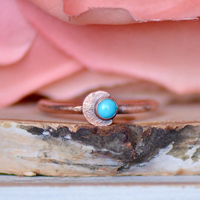 Turquoise Moon Ring, Moon Ring, Gift for Her, Stacking Ring, Boho Ring, Raw Stone Ring, Layering Ring, Electroformed Ring, Dainty Ring,LUNAandLORES.
