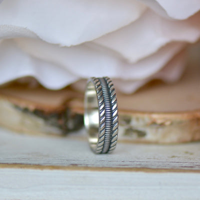Silver Twist Ring, Sterling Silver Ring, Wide Ring Band, Wedding Band, Twisted Ring, Silver Ring Band, Gift For Her, Layering Ring,LUNAandLORES.