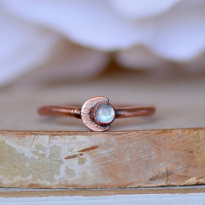 Moonstone Crescent Ring,LUNAandLORES.