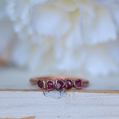 Raw Garnet Ring, Multi Stone Ring, Electroformed Ring, Unique Gift for Her, Raw Crystal Ring, Stacking Ring, Garnet Jewelry, Bohemian Bride,LUNAandLORES.