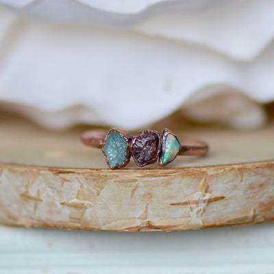 Opal Ruby Tourmaline Ring,LUNAandLORES.