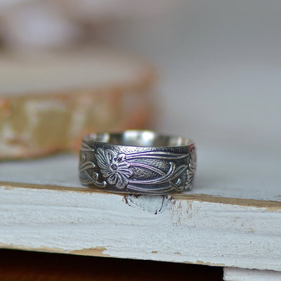 Flower Ring, Art Nouveau Ring, Sterling Silver Jewelry, Silver Boho Ring, Thumb Ring, Gift For Her, Knuckle Ring, Stackable Ring, Wide Ring,LUNAandLORES.
