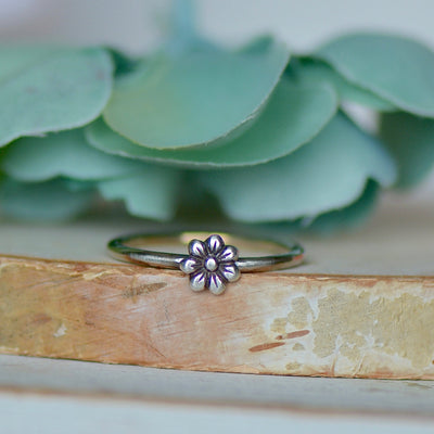 Flower Ring, Sterling Silver Ring, Electroformed Ring, Gift For Her, Boho Ring, Stacking Ring, Dainty Ring, Layering Ring, Nature Jewelry,LUNAandLORES.