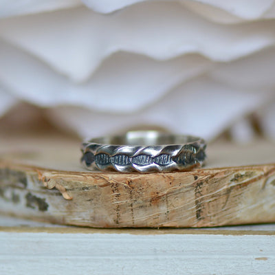 Sterling Silver Ring Band, Patterned Ring, Sterling Silver Ring, Wedding Ring, Boho Ring, Stackable Ring, Silver Jewelry, Bohemian Jewelry,LUNAandLORES.