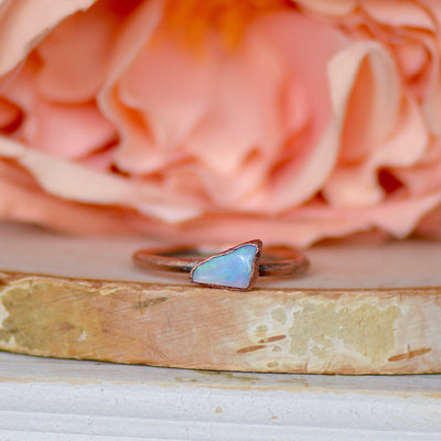 Raw Opal Ring, Raw Stone Jewelry, Australian Opal Ring, Unique Gift for Her, October Birthstone Ring, Raw Crystal Ring, Bohemian Jewelry,LUNAandLORES.