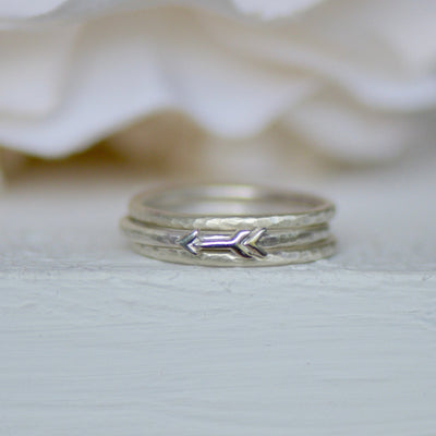 Silver Arrow Ring Set, Sterling Silver Rings, Boho Jewelry, Symbolic Jewelry, Stacking Rings, Hammered Ring, Unique Gift for Her, Midi Ring,LUNAandLORES.