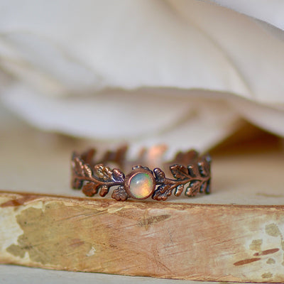 Opal Leaf Ring, Electroformed Jewelry, Raw Gemstone Ring, Stacking Ring, Gift for Her, Bohemian Ring, Layering Ring, Birthstone Ring